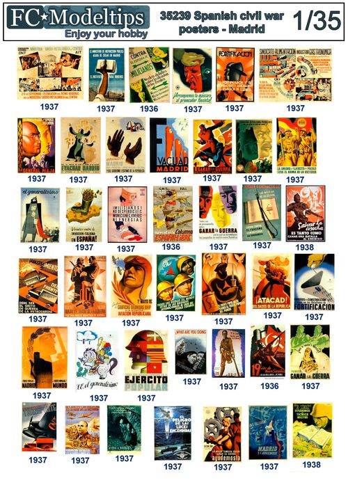 35239 Spanish civil war posters, Madrid. Decals 1/35 scale