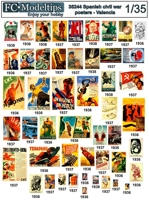 35244 Spanish civil war posters, Valencia. 1/35 scale decals