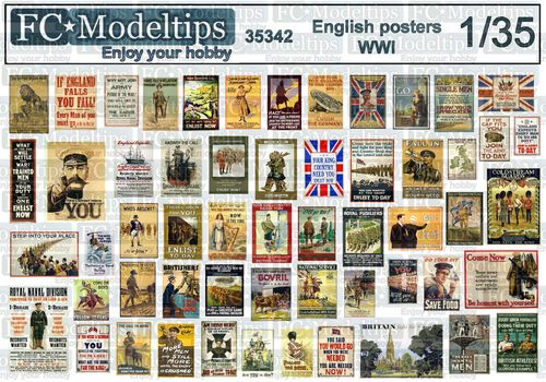 35342 English posters WWI, 1914-1918, 1/35 scale