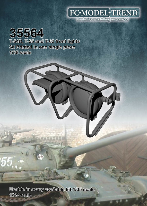 35564 T54A, T55 and T62front lights, 1/35 scale