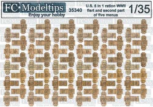 35340 5 in 1 ration boxes, US army WWII, 1/35 scale
