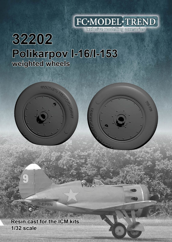 32202 I-16 weighted wheels, 1/32 scale