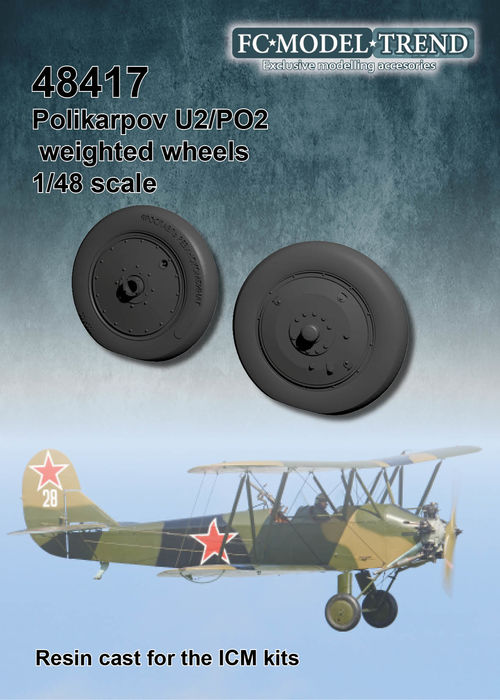 48417 Polikarpov U2 weighted wheels, 1/48 scale for the ICM kit