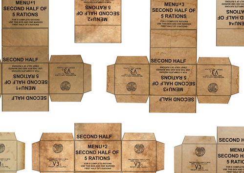 16302 WWII, US army 5 in 1 ration cartons, 1/16 scale