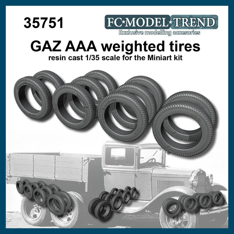35751 GAZ AAA, weighted tires, 1/35 scale