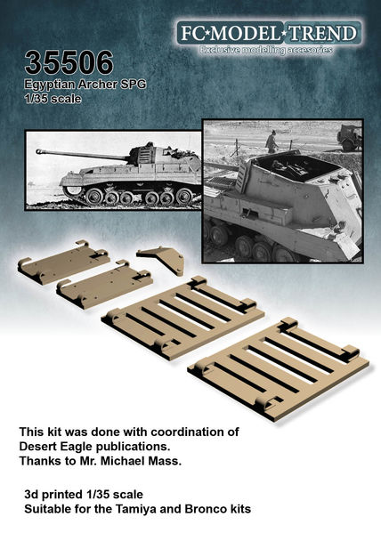 35506 Archer SPG, Egyptian extra armour shields, 1/35 scale
