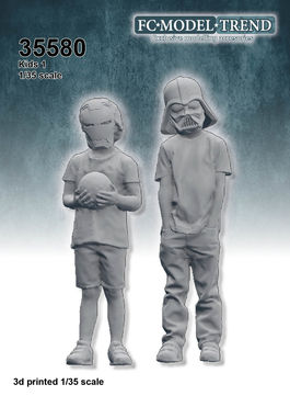 35580 Kids with masks 1, 1/35 scale