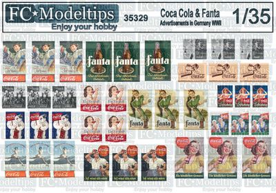 35329 Coca Cola and Fanta commercial signs in Germany WWII, 1/35 scale